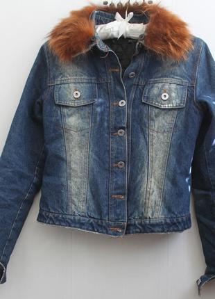 Джинсовая курточка пиджак джинсовка на утеплителе с натуральным мехом, италия anna rita