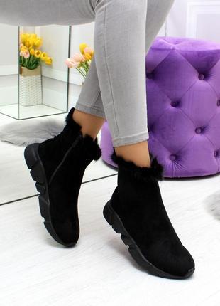 Новые женские зимние чёрные ботинки