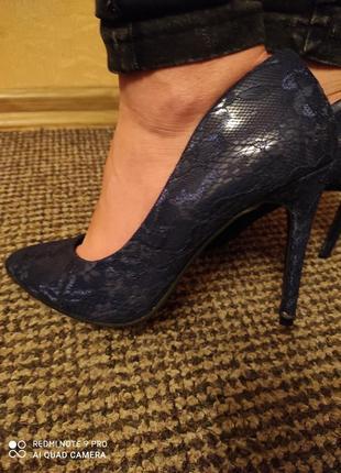 Туфли лаковые синие новые ideal shoes