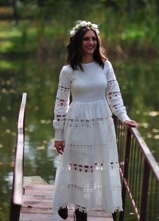 Платье нарядное объёмный рукав миди выпускное свадебное прошва хлопковое кружево жатка