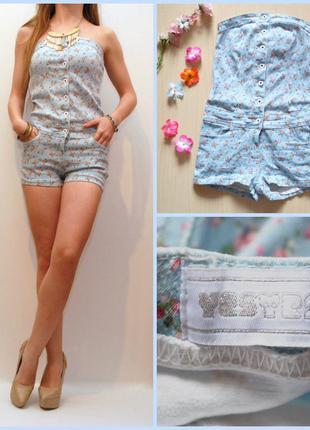 Классный джинсовый комбинезон в цветы