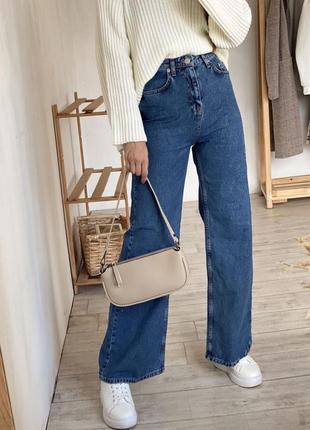 Джинсы палаццо на высокой талии посадке клёш свободные тёмный джинс