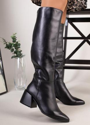 Сапоги зимние кожаные черные 5908