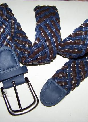 Детские сине-шоколадный плетеный ремень