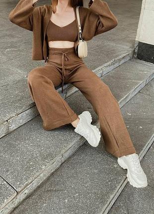 Брюки штаны вязаные свободные на высокой посадке талии