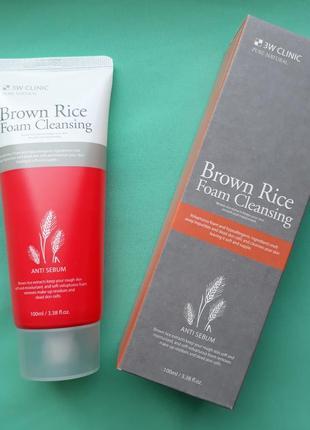 Пенка для умывания с экстрактом риса 3w clinic brown rice foam cleansing