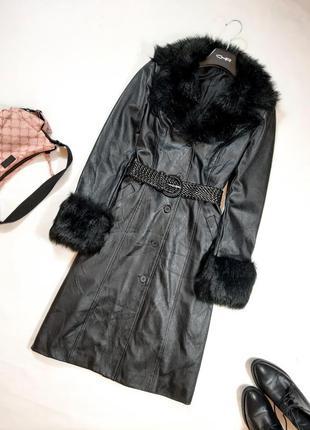 Демисезонное пальто миди, тренч из кожзама с мехом, s,m