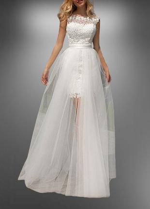 Свадебное платье трансформер с отстегивающейся юбкой пышной кружевное св-102