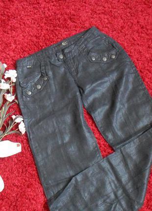 Летние черные брюки 100%оригинал cavalli-лен-s-ка