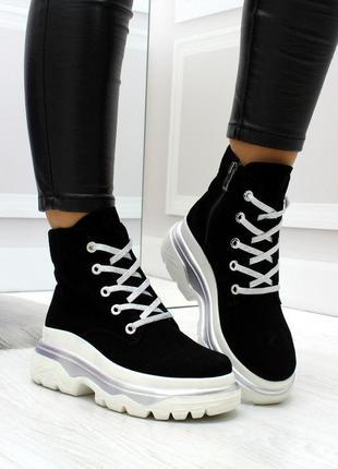Новые женские демисезонные чёрные замшевые ботинки