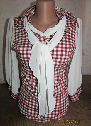 Рубашка блуза  клітка цікавого крою