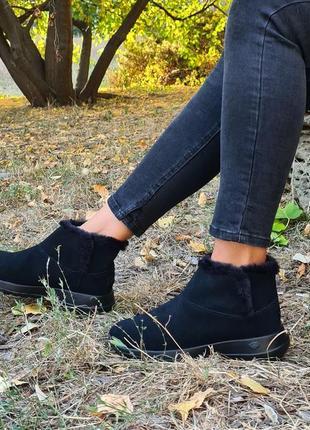 Ботинки skechers on the go joy-bundle up оригинал натуральная замша, мех