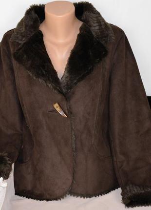 Брендовая коричневая дубленка с карманами per una мех акрил этикетка