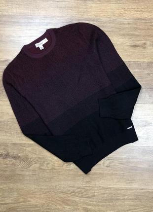Крутий светр calvin klein knit sweater burgundy/black