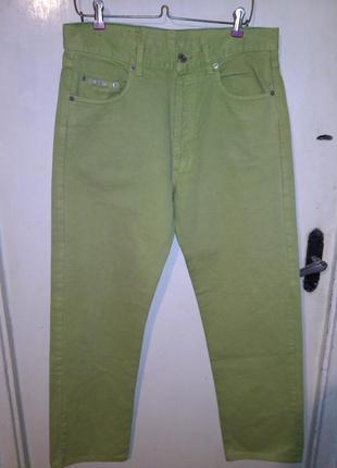 Стильные,зауженные,салатовые джинсы,большого размера,унисескс,general company vintag
