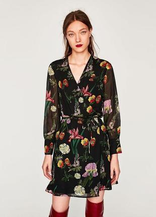 Шикарное цветочное платье на запах zara сукня