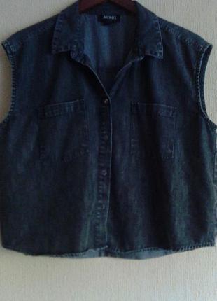 Фирменная джинсовая блуза-рубашка-распашенка-безрукавка от monki