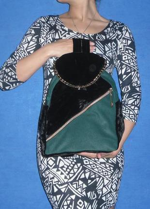 Велюровый бархатный рюкзак ручная работа