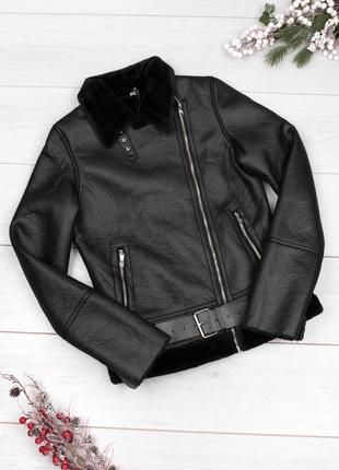 Чёрная дублёнка авиатор, тёплая куртка косуха на меху зимняя демисезонная