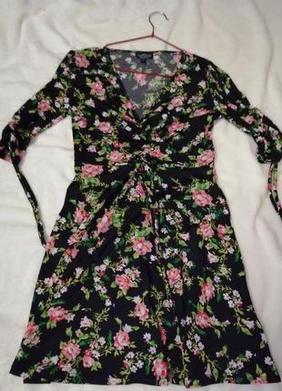 Платье мини, платье в цветочек