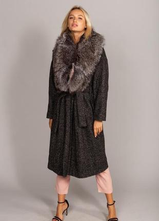 Модное зимнее пальто с мехом финской чернобурки италия шерсть хит продаж!