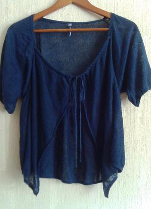 Фирменная летняя футболка-кардиган-безрукавка от sud express 100% лен
