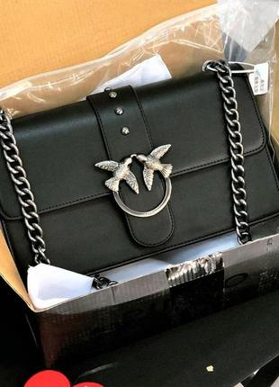 Женская сумка pinko love bag мини / черная / пинко / кожа