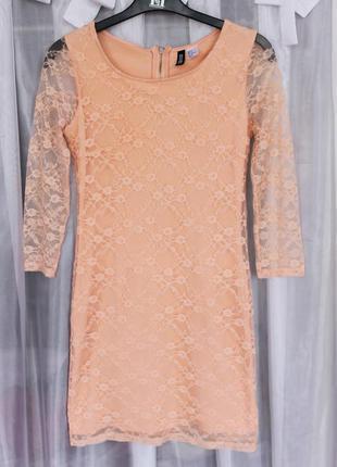 Кружевное персиковое платье h&m