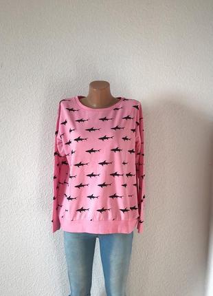 Свитшот розовый с акулами s-m