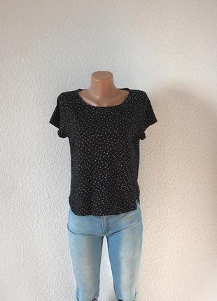 Sale! брендовая черная футболка h&m basic в горошек xs-s