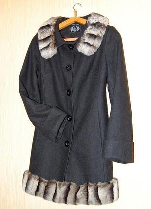 Sale! демисезонное пальто ricco с натуральным мехом шиншиллы,, ангора, альпака, шерсть
