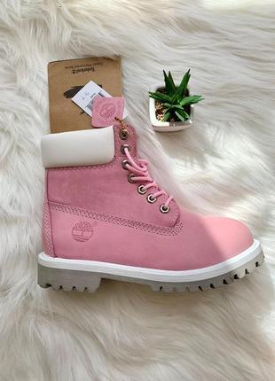 Ботинки демисезонные timberland pink арт 0072