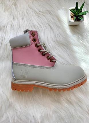 Ботинки демисезонные timberland pink grey арт 0073