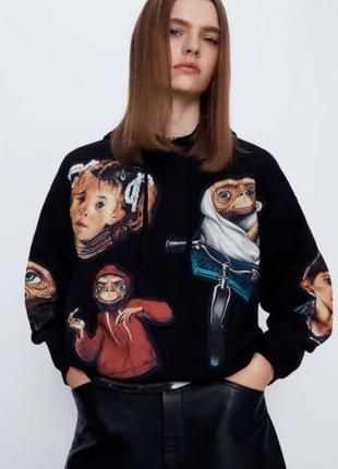 Худи zara зара свитшот толстовка новая тёплая свитер s 36 44 чёрный инопланетянин e.t.