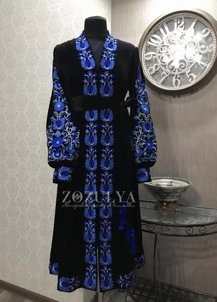Вишита сукня вишиванка на чорному бархаті