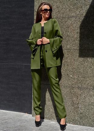Женский хаки деловой костюм с длинным жакетом (3983 jdnn)