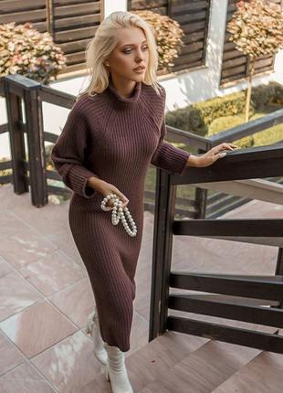 Платье вязаное обьемное миди бордовое теплое длинное эксклюзив