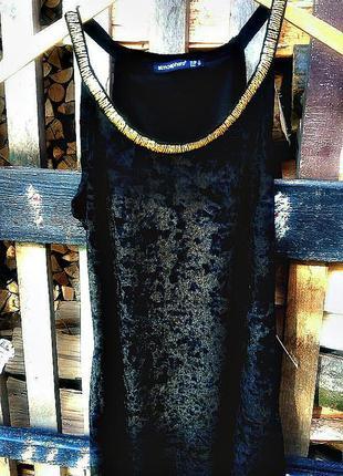 Модная блуза черный бархат хит сезона с украшением из бисера золотистого цвета atmosphere