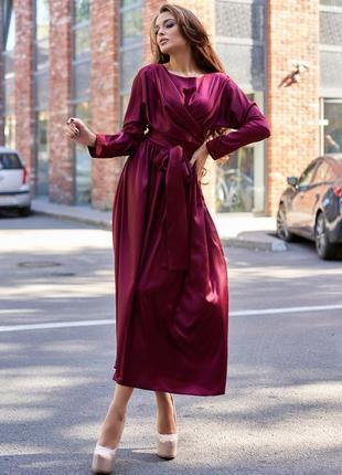 Женское однотонное бордовое винное шелковое платье миди на запах (jdnn)
