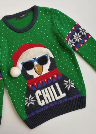 Новогодний свитер george пингвин 104-110