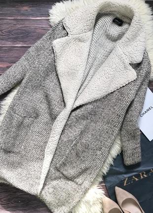 Вязаное пальто бойфренд zara