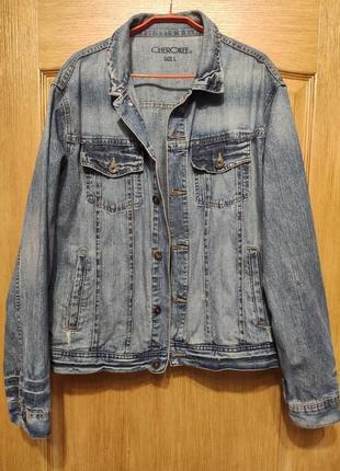 Cherokee мужская джинсовая куртка, пиджак, джинсовка с потертостями