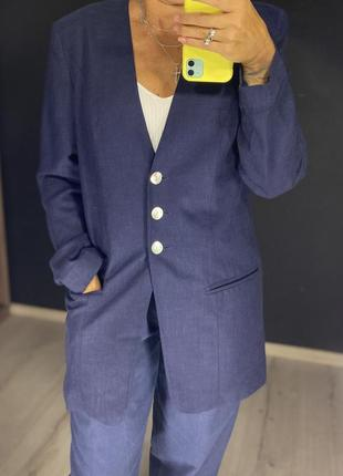 Винтажный льняной пиджак/жакет