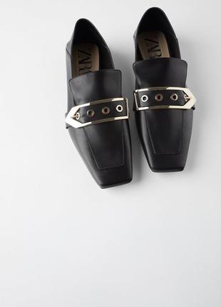 Туфли лоферы zara натуральная кожа новая коллекция