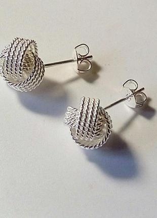 Серьги сережки гвоздики пусеты в стиле tiffany серебро новое