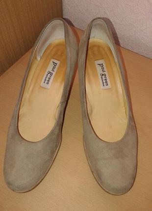 Бежевые замшевые туфли, пр-во австрия, 26 см