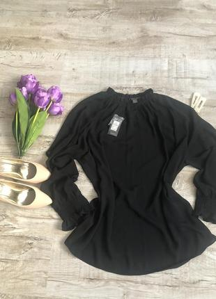 Блуща блузка черная шифоновая primark стильная модная красивая классическая офисная