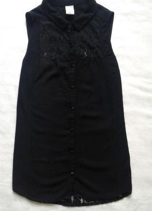 Черная шифоновая блуза zebra с гипюровой кружевной спиной/ размер xs