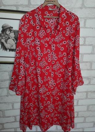 3 дня!легкое платье рубашка красное цветочный принт