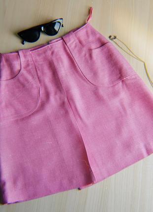 Юбка розовая трапеция мини с карманами а силуэта xs